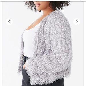 Plus size shaggy jacket